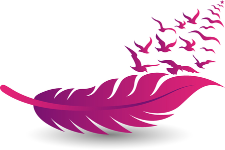 Illustration art of a pink feather and birds fly icon with isolated background 일러스트