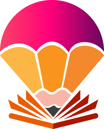Arte de la ilustración de un icono de paracaídas de pluma creativa con fondo aislado