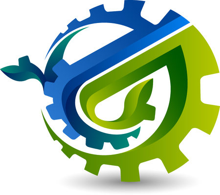 Illustration art of a gear leaf icon with isolated background