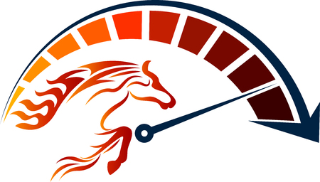 Illustration art of a speed racing horse icon with isolated background