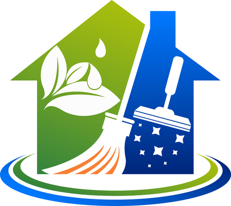Illustration art of a house cleaning service icon with isolated background