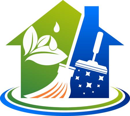 Illustrationskunst einer Hausreinigungsdienstikone mit lokalisiertem Hintergrund