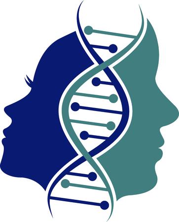 Arte de la ilustración de un icono de cara genética de pareja con fondo aislado