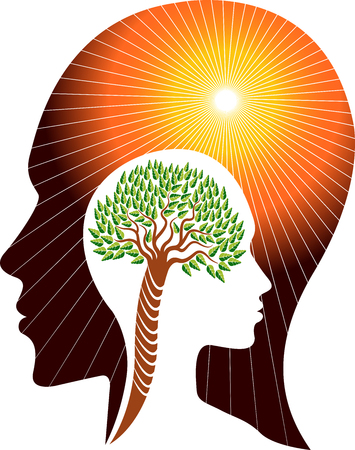 Illustration art of a brain tree icon with isolated background