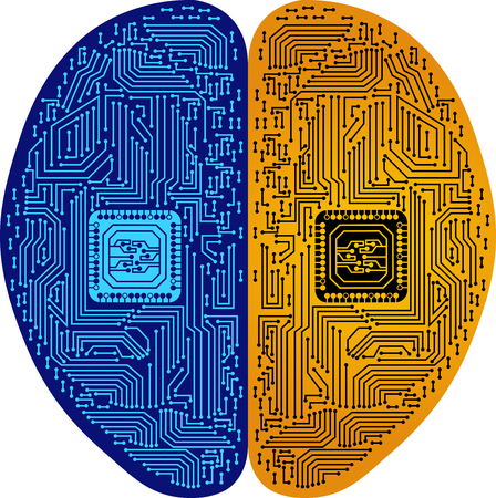 Illustration art of a brain circuit icon with isolated background