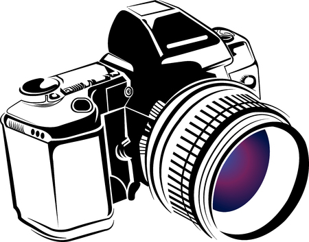 Arte de la ilustración de un icono de cámara profesional con fondo aislado