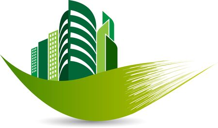 Illustration art of a Eco building icon with isolated background Ilustracja