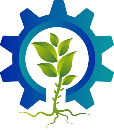 Illustration art of a Gear plant  with isolated background Ilustracja