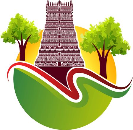 Illustration art of a Hindu temple icon with isolated background