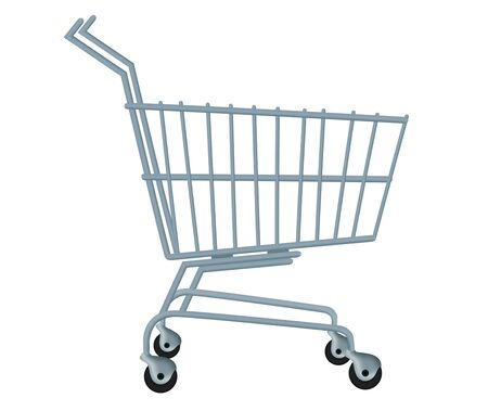 3d drawing of a empty trolley with isolated background