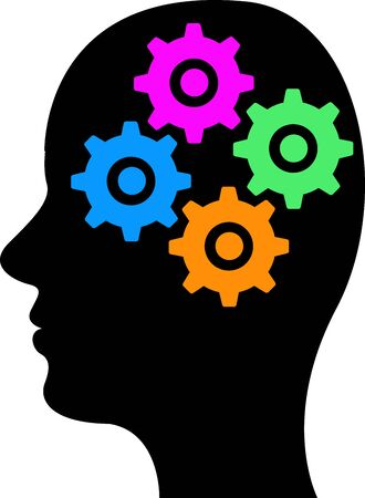 Illustration art of a brain gear icon with isolated background Ilustracja