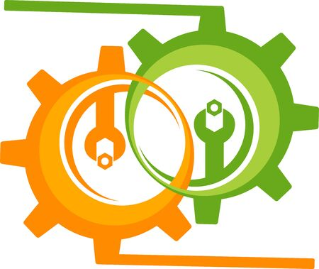 Illustration art of a cogwheel icon with isolated background