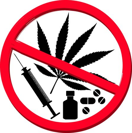 Illustration art of a No drug icon with isolated background