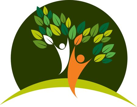 Illustration art of a couple tree icon with isolated background Illusztráció