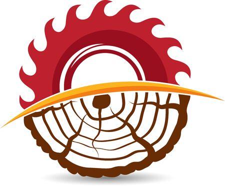 Illustration art of a wood cutting icon design with isolated background Illusztráció