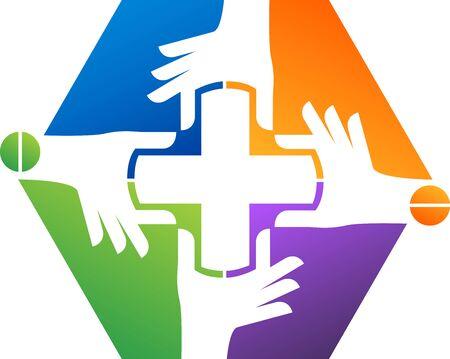 Illustration art of a cross hands icon with isolated background