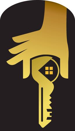 Illustration art of a hand key icon with isolated background