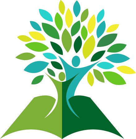 Illustration art of a tree education icon with isolated background
