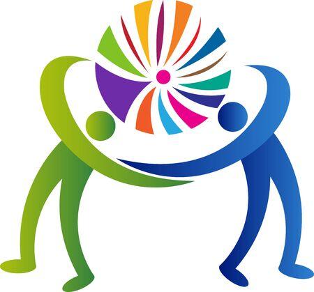 Illustration art of a couple exercise icon with isolated background Illusztráció
