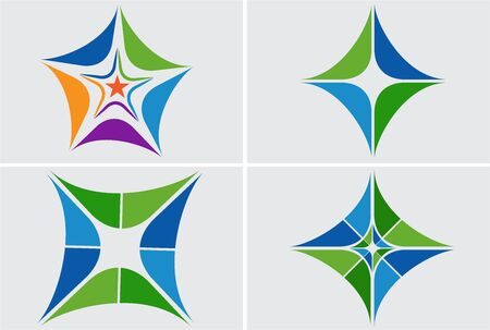 Illustration art of a different shapes icon with isolated background