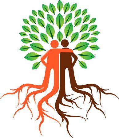 Illustration art of a friendly tree icon with isolated background Illusztráció