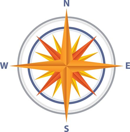 Illustration art of a Compass icon with isolated background