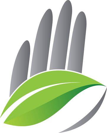 Illustration art of a hand leaf icon with isolated background Illusztráció