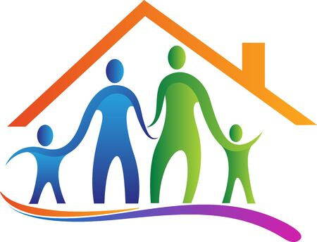 Illustration art of a family home icon with isolated background