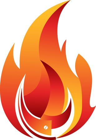 Illustration art of a flame icon with white background
