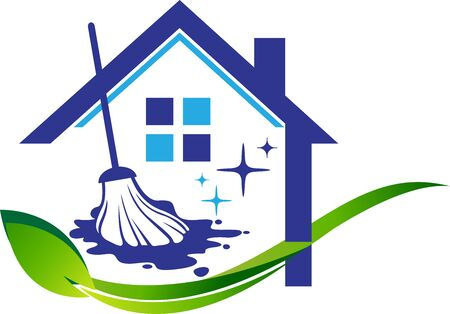 Illustration art of a Home cleaning service icon with isolated background