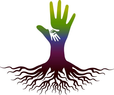Illustration art of a hand root icon with isolated background
