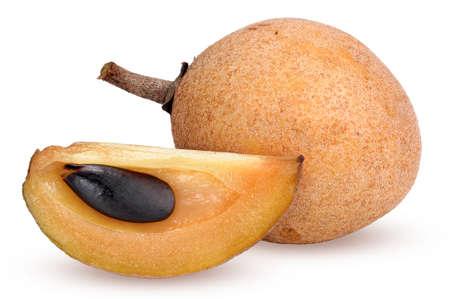 camera shot on fresh sapodilla fruit with isolated background