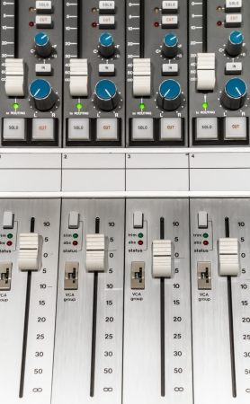 Close up of a professional audio mixer in a recording studio photo