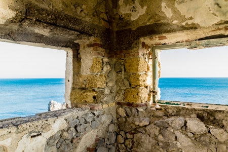 Ruins at the lighthouse of Capo Zafferano in Sicily (Italy) photo