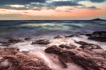 palermo   italy: Sunset on the coast of Sicily near Palermo  Italy  Stock Photo
