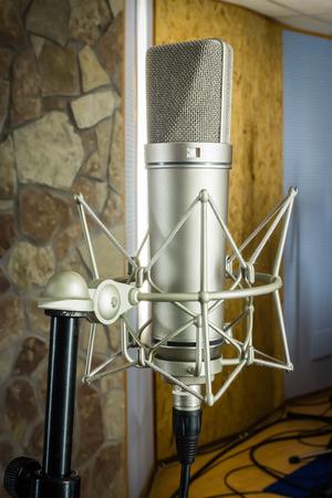 Vintage mic in the studio recording photo