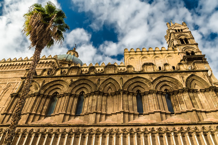 architectural styles: The Cathedral of Palermo is an architectural in Palermo, Sicily   Italy   dedicated to the Virgin Maria  It is characterized by the presence of different styles  Stock Photo