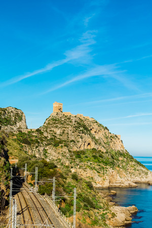 promontory: Promontory with an ancient tower on the west coast of Sicily  Italy  Stock Photo