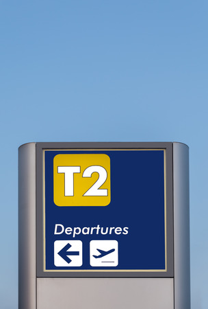 indicator board: Signpost with the description for navigation in airport. Stock Photo