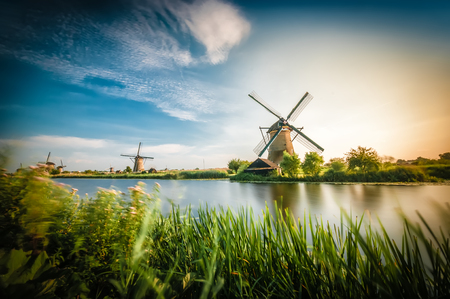 historians: Historians Dutch windmills near Rotterdam Archivio Fotografico