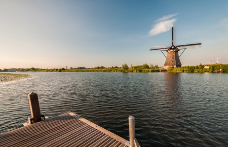 historians: Historians Dutch windmills near Rotterdam Stock Photo