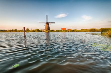 Historians Dutch windmills near Rotterdam Stock Photo