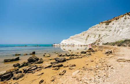 Scala dei Turchi is a fascinating limestone rock steep on a wonderful sea near Agrigento in Sicily (Italy) Stock Photo
