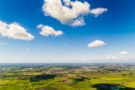 An aerial shot of the valley of the Po (Italy) Stock Photo