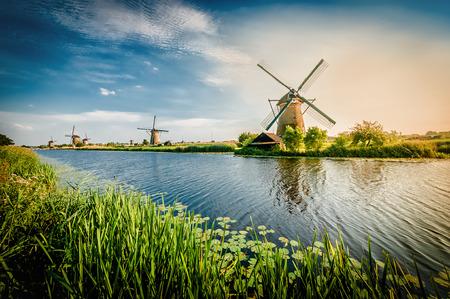 Historians Dutch windmills near Rotterdam Фото со стока