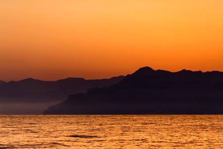 A sea sunset on the coast of Amalfi (Italy) Archivio Fotografico - 92099648