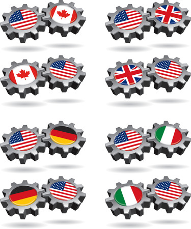 America Works With Canada, Britain, Germany, and Italy Illusztráció