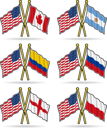 American Friendship Flags Vector