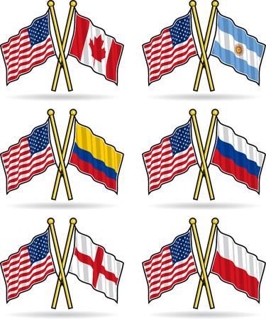 la bandera de colombia: Estadounidense banderas de amistad  Vectores