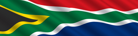 south africa flag: South African Flag in the Wind